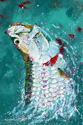 Pallet Knife Jumping Tarpon Art Print