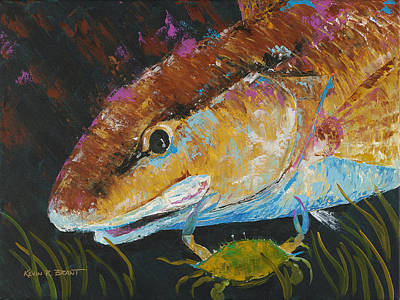 Pallet Knife Redfish And Blue Crab Art Print