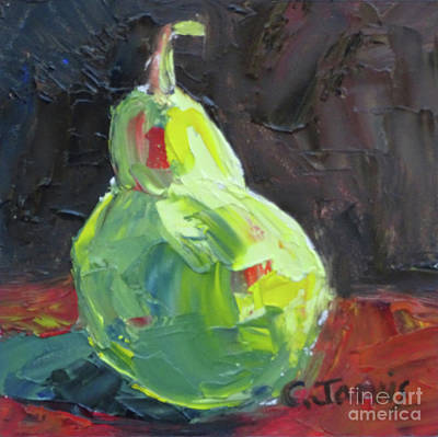 Painting - Pallette Knife Pear by Carolyn Jarvis