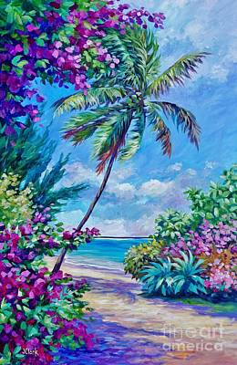 Naples Beach Wall Art - Painting - Palm And Bougainvillea by John Clark
