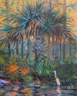 Painting - Palm And Egret by Donald Maier