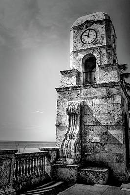 Palm Beach Clock Tower In Black And White Art Print