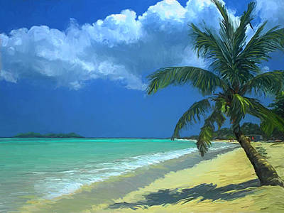 Painting - Palm Beach In The Keys by David  Van Hulst