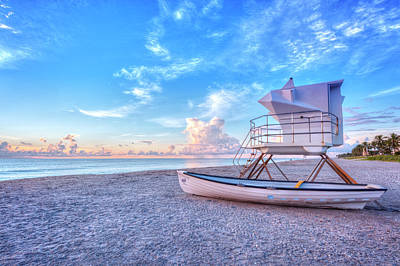 Photograph - Palm Beach Lifeguard Tower And Boat by Debra and Dave Vanderlaan