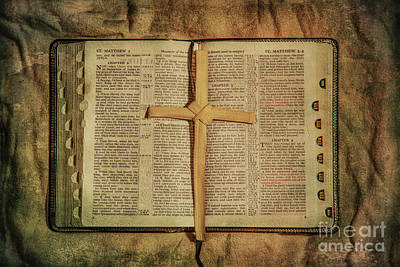 Palm Branch Cross And Bible Art Print
