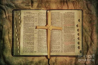 Palm Branch Cross And Bible Art Print