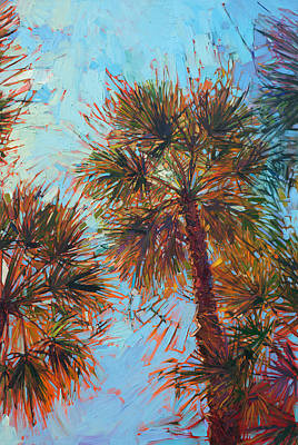 Painting - Palm Color - Triptych Center Panel by Erin Hanson