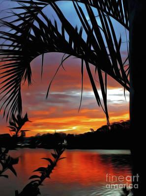 Photograph - Palm Framed Sunset by Kaye Menner