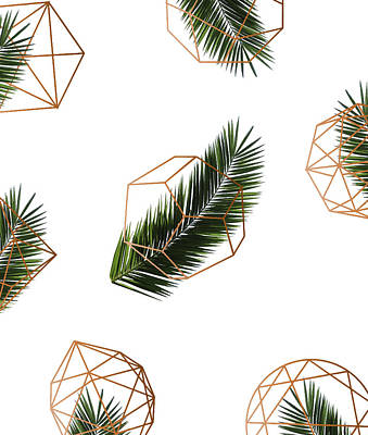 Palm Geometry Art Print by Uma Gokhale