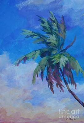 Bahamas Painting - Palm In Evening Light by John Clark