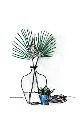 Painting - Palm Leaves, Books, Succulent by Masha Batkova