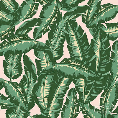 Bananas Drawing - Palm Print by Lauren Amelia Hughes