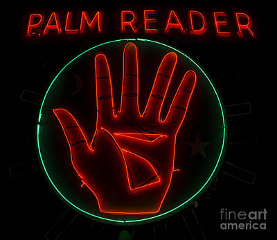 Gypsy Photograph - Palm Reader Neon Sign by Mindy Sommers