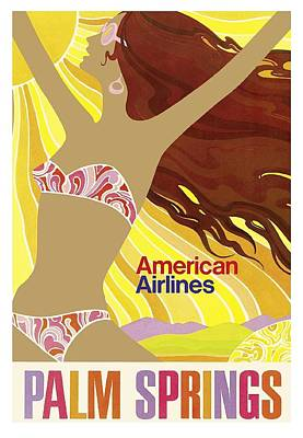 Bikini Digital Art - Palm Springs California Girl Vintage Travel Poster by Retro Graphics