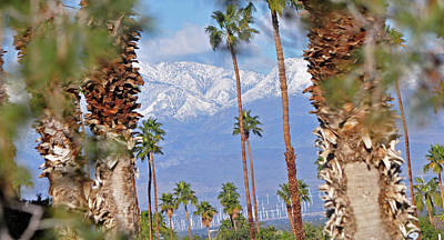 Photograph - Palm Springs Mt. Range Plus Solar Windmills I 10 by Jay Milo