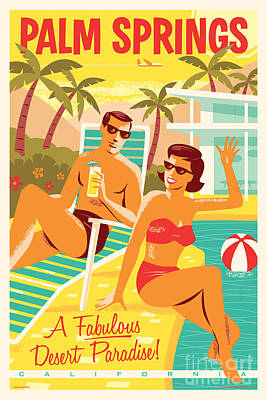 Palm Digital Art - Palm Springs Retro Travel Poster by Jim Zahniser