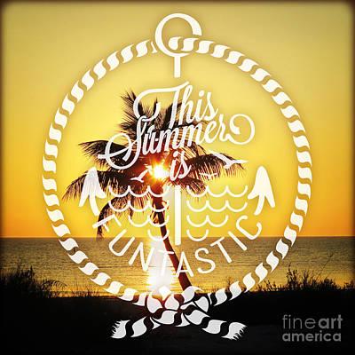 Beach Landscape Mixed Media - Palm Sunset by Chris Andruskiewicz