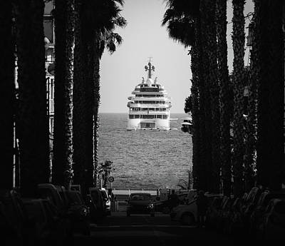 Photograph - Palm Tree And Luxury Yacht by Alexandre Rotenberg