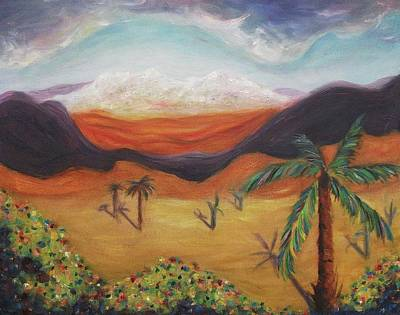 Palm Tree In Desert Art Print by Suzanne  Marie Leclair
