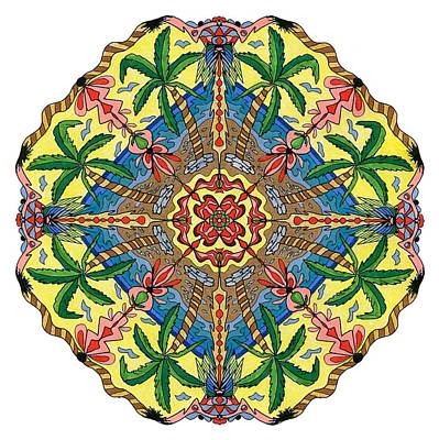 Digital Art - Palm Tree Mandala With Color by Tanya Provines