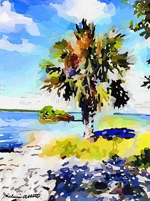 Painting - Palm Tree On Ski Island, Banana River, Cape Canaveral, Fl by Melissa Abbott