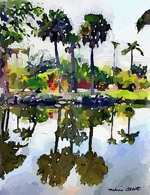 Painting - Palm Tree Reflections, Merritt Island, Fl by Melissa Abbott
