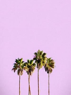 Mixed Media - Palm Tree Sunset Minimalism by Dan Sproul
