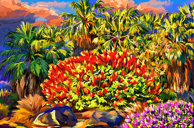 Painting - Palm Trees And Dwarf Poinciana Red Bird Of Paradise Bush Desert Willow by Tim Gilliland