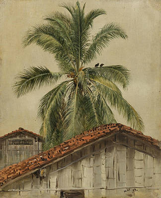 South American Painting - Palm Trees And Housetops Ecuador by Frederic Edwin Church