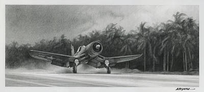 Us Marine Corps Drawing - Palm Trees And Pistons by Wade Meyers