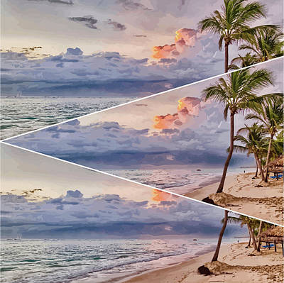 Mixed Media - Palm Trees At Sunset Triptych by Clive Littin