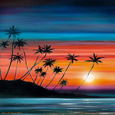 Painting - Palm Trees Beach - Square Sunset by Gina De Gorna