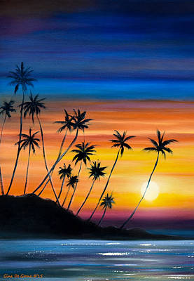 Painting - Palm Trees Beach Sunset by Gina De Gorna