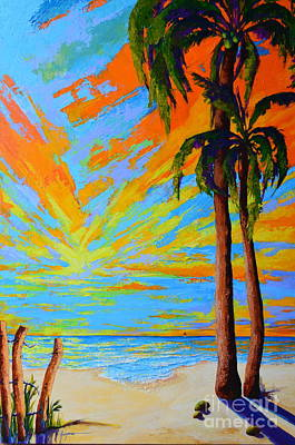 Painting - Florida Palm Trees, Tropical Beach, Colorful Sunset Painting by Patricia Awapara