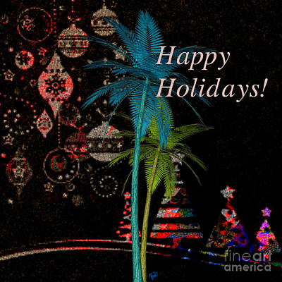 Digital Art - Palm Trees Happy Holidays by Megan Dirsa-DuBois