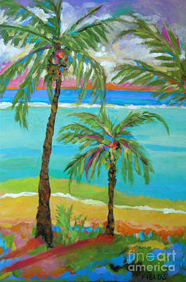Palm Trees In Landscape Art Print by Karen Fields