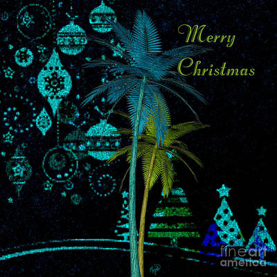 Digital Art - Palm Trees Merry Christmas by Megan Dirsa-DuBois