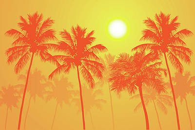 Midday Digital Art - Palm Trees On A Hot Summer Day by Andrea Hill
