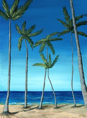 Peaceful Painting - Palm Trees On Blue by Anastasiya Malakhova
