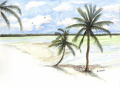 Palm Trees On The Beach Art Print