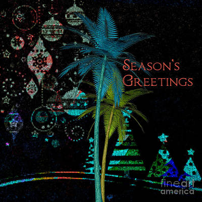 Digital Art - Palm Trees Season's Greetings by Megan Dirsa-DuBois