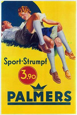 Royalty-Free and Rights-Managed Images - Palmers - Sports-Strumpf - Vintage Germany Advertising Poster by Studio Grafiikka