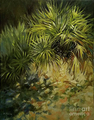 Painting - Palmetto Shadows Beach Dunes Tropical by Mary Hubley
