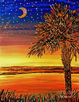 Palmetto Sunset  Art Print by Patricia L Davidson