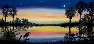 Palmetto Tree And Moon Low Country Sunset Art Print by Patricia L Davidson