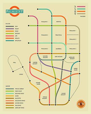 Palmistry Hand Map 1 Art Print
