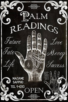 Palm reading paintings fine art america palm reading painting palmistry sign vintage style by mindy sommers m4hsunfo
