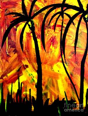 Abstract Painting - Palms Afire by James and Donna Daugherty