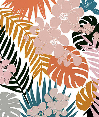 Mango Digital Art - Palms And Bloom by Uma Gokhale