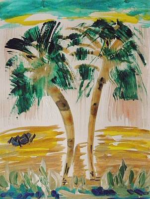 Painting - Palms And Crashing Waves by Mary Carol Williams
